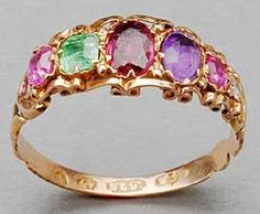 An English gold 'REGARD' ring, c.1870; the first letters of the ruby, emerald, garnet, amethyst, ruby and diamond spell 'regard'. (Maine Antique Digest)