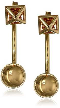 Amazon.com: Rebecca Minkoff 14k Gold Two Part Curved Earrings: Jewelry