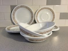 Pyrex / Corelle 1970s Woodland Brown pattern Various Dishes by FrankiesAntiques on Etsy https://www.etsy.com/listing/263721206/pyrex-corelle-1970s-woodland-brown