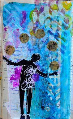 art journal spread by dina wakley