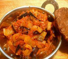 padlizsános lecsó Ratatouille, Vegan Recipes, Curry, Ethnic Recipes, Food, Red Peppers, Curries, Vegane Rezepte, Essen