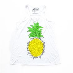 Fruit of The Spirit Pineapple Flowy Tank ($30) ❤ liked on Polyvore featuring tops, summer tops, colorful tank tops, colorful tops, white tank and pineapple top