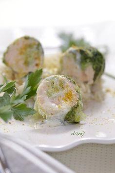 Rouleaux de chou au saumon sauvage à la crème de poutargue