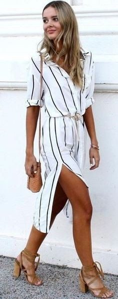 #Summer #Outfits / Striped Mini Dress + Gladiator Heels
