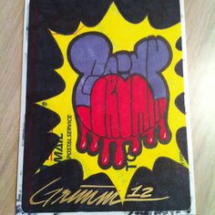 Grimmickey #theartistgrimm #grimm #art #artist #disney #mickeymouse #stickers #stickerartist #slaptag #tags #slapartist drips