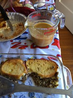 Sausage and French toast casserole with Guinness Hollandaise sauce