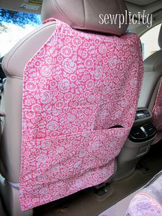 Back of Car Seat Protector & Organizer - I like the idea of the big straps around the edge of seat rather than the one strap around the neck.  keeps it from flopping around,