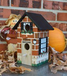 Decorative Hand Painted Brick House Birdhouse