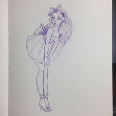 Drawing Of Girls In Dresses Character Design - Drawing Bow Drawing, Cute Girl Drawing, Drawing Sketches, Sketching, Drawing Ideas, Beautiful Drawings, Cute Drawings, Pencil Drawings, Deviantart Drawings