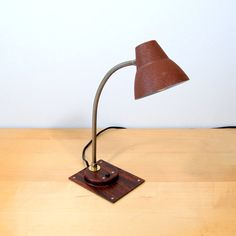 Tensor Faux Bois Desk Lamp Textured Brown Shade by MetalAndTweed