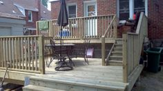 This is almost identical to our current deck. We want benches in addition to the railing on the lower deck Backyard Ideas For Small Yards, Patio Ideas, Tiered Deck, Cool Deck, Diy Deck, Patio Plans, Deck Railings, Decks And Porches, Building A Deck