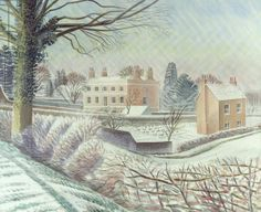 """""""Vicarage in the Snow"""" by Eric Ravilious. The vicarage pictured is in Castle Hedingham in Essex, where Ravilious and his family lived in the mid-1930s."""