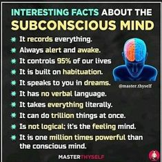 Type if you agree! ❤️ - Your subconscious mind is subjective. It does not think or reason independently; it merely obeys the… Brain Science, Science Facts, Fun Facts, Stephen Hawking, Reiki, Subconscious Mind Power, Einstein, Brain Facts, E Mc2