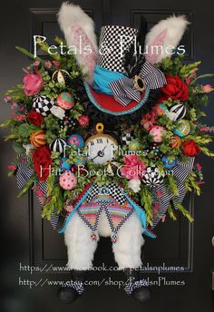 "Easter Bunny Rabbit Wreath - PRE-ORDER For ""2014"" Easter Delivery""ThE HaTteR RaBbiT""-Easter Bunny Wreath-Petals & Plumes Original Design-""LAST Year in Production"""