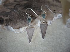 Druzy Earrings, Jasper Quartz Druzy Triangle Earrings,Sterling Silver Earrings, Geometric Jewelry, Blue Topaz Earrings, Jewelry Gift For Her by GemJewelrybyHWestNY on Etsy
