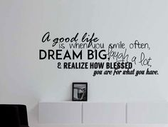 A Good Life Is When You Smile Often Wall Decal Typography Quote 43x16 Inches