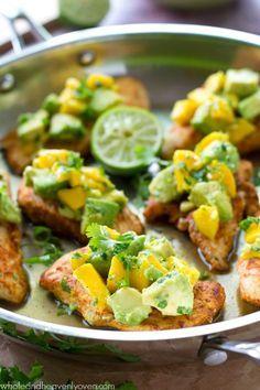 rubbed chicken tenders with mango avocado salsa cajun rubbed chicken ...