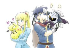 Samus with Pikachu and Ike with Meta Knight