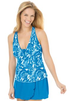 This figure flattering tankini is great for every body type. Whether you're lounging by the sea or at your pool, you'll feel comfortable and carefree in this plus size swimsuit. #plussize #swim #summer #beach