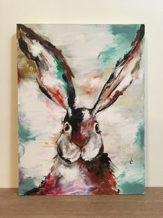 Excited to share the latest addition to my #etsy shop: Original Rabbit Bunny Painting on a Wood Panel Rabbit Art