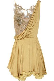 Julien Macdonald|Silk-satin and lace dress|NET-A-PORTER.COM - StyleSays