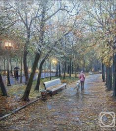 Loukianov Victor. Strastnoi Boulevard in Rain