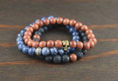 Beaded Bracelets Men's Triple Stack - Lava Bracelet with Goldstone Healing - Yoga Gift For Men - Celtic Men's Bracelet - Lotus and Lava Gift