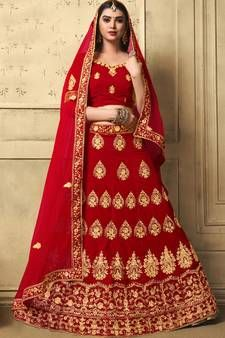 Red Lehenga - Red Lehengas Designs For Women @ Best Prices Lehenga Online Shopping, Designer Bridal Lehenga, Red Lehenga, Thread Work, Red Color, Amazing Women, Kimono Top, Sari, Tops
