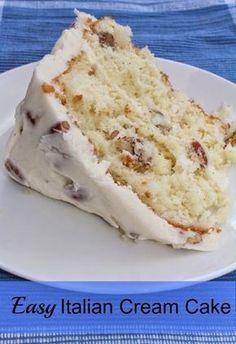 Easy Italian Cream Cake - so lecker - Dinner ideas - Kuchen Köstliche Desserts, Delicious Desserts, Dessert Recipes, Dessert Blog, Health Desserts, Italian Cream Cheese Cake, Italian Cake, Italian Cream Cheesecake Recipe, Italian Cream Cake Recipe Easy