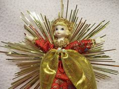 Gold Tinsel Angel Ornament Vintage