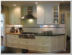 Subway Tile Kitchen, Subway Tile Backsplash, Kitchen Backsplash, Kitchen Cabinets, Backsplash Ideas, Tile Ideas, Countertop, Condo Kitchen, New Kitchen