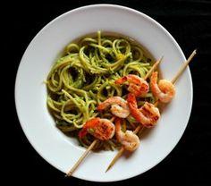 Avocado Cream Pasta with Grilled Shrimp