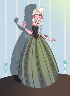 Elsa from Disney Frozen is a little afraid wearing her sister's dress! :D
