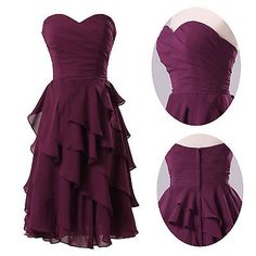 A-line Sweetheart Knee-length Chiffon Short Formal Bridesmaid Party Prom Dress