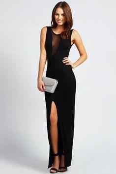 Alexa Mesh Insert Plunge Neck Maxi Dress at boohoo.com Wishlist Shopping 47355a077e001