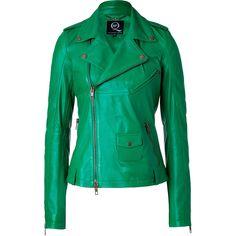 MCQ ALEXANDER MCQUEEN Grass Green Lambskin Biker Jacket ($2,090) ❤ liked on Polyvore