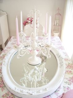 I don't know about the mirror on the table... #pink #shabby #rose