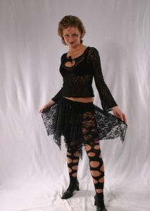 Gothic Sheer Lace Mini Skirt~Black Lace Mini Skirt~By Bares/Fashion X. Germany.~90D-1423~