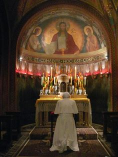 Pope Benedict XVI kneeling and praying in front of the tabernacle  We should all face the tabernacle and mostly kneel when we pray in church.