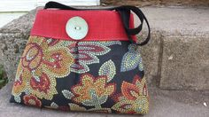 Handbag Purse Tote Bag in Red and Black Tapestry on Etsy, $52.00