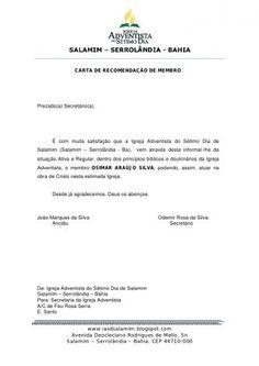 modelo de carta de recomendação de membro de Igrejas