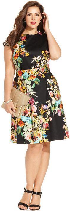 Spense Plus Size Cap-Sleeve Floral-Print A-Line Dress