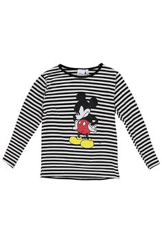 65648f24 Boys Disney Long Sleeve Stripe Tee With Mickey Print Striped Tee, Boohoo,  Striped T