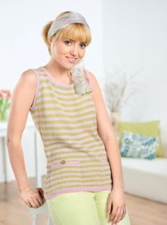Stripe Tunic - free knitting pattern to download over the Let's Knit website!