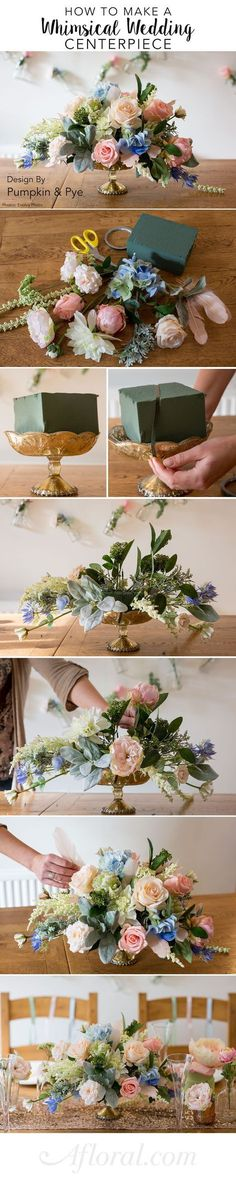 Learn how to make this beautiful centerpiece for your diy wedding. Can you believe these are silk flowers? Design by Pumpkin and Pye Photos by Evolve Photo DIY Flower Arrangement, Flower Bouquet ,Table Centerpiece,Wedding Decor,Flowers Flower Centerpieces, Wedding Centerpieces, Wedding Table, Wedding Decorations, Centerpiece Ideas, Wedding Reception, Budget Wedding, Reception Ideas, Wedding Cakes