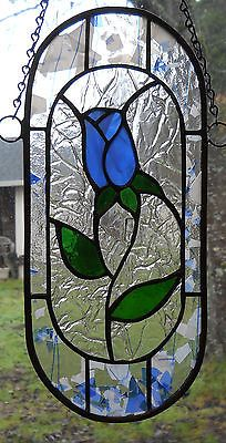 STAINED+GLASS+HANDCRAFTED+BLUE+ROSE+PANEL/NEW