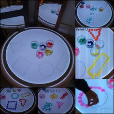 """Early years activities linked to shape - from Rachel ("""",) Montessori Activities, Classroom Activities, Early Years Maths, Light Board, Numeracy, Simple Shapes, Light Table, Teaching, Play"""