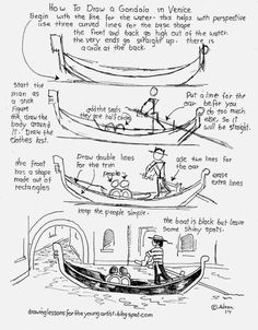 How to Draw Worksheets for The Young Artist: How to Draw a Gondola Boat in Venice Italy, Free D...