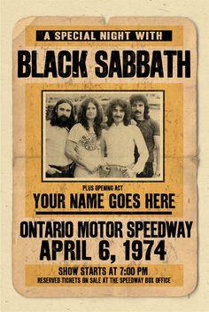Su nombre en un Black Sabbath concierto cartel 12 x por posterinc