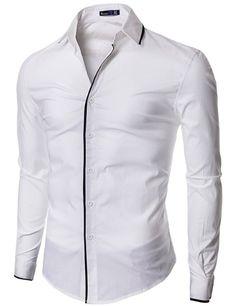 Amazon.com: Doublju Mens Dress Shirt with Slim Fit: Clothing